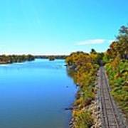 Empty Train Tracks Of Rockford On The Rock River With Fall Colors Poster