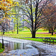 Empty Walkway On A Beautiful Rainy Autumn Day Poster