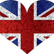 England Union Jack Flag Heart Textured Poster