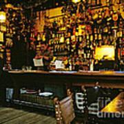 English Pub At Christmas-time Uk 1980s Poster by David Davies