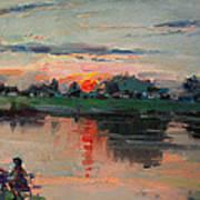 Enjoying The Sunset By Elmer's Pond Poster