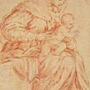 Enthroned Madonna And Child Poster