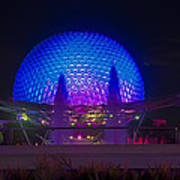 Epcot At Night - Spaceship Earth Poster