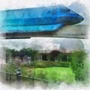 Epcot Globe And Blue Monorail Walt Disney World Photo Art 01 Poster