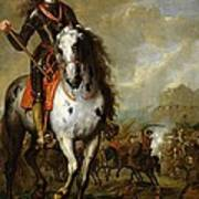Equestrian Portrait Of Prince Eugene De Savoie 1663-1736 C.1700-10 Oil On Panel Poster