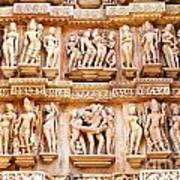 Erotic Human Sculptures Khajuraho India Poster