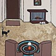 Essence Of Home - Cat By Fireplace Poster