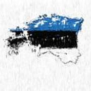 Estonia Painted Flag Map Poster