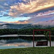 Evening Mist In August Over Lake Tamarack Poster