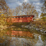 Everett Rd. Covered Bridge In Fall Poster