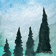 Evergreens On Green And Blue Landscape #1 Poster