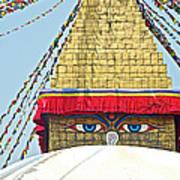 Eyes Of Buudha Boudhanath Stupa In Kathmandu-nepal  Poster