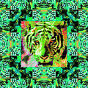 Eyes Of The Bengal Tiger Abstract Window 20130205m180 Poster by Wingsdomain Art and Photography