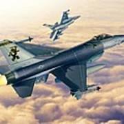 F-16c Sunset Falcons Poster by Stu Shepherd