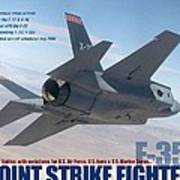 Lockheed Martin F-35 Joint Strike Fighter Lightening II With Text Poster