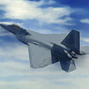F22  Raptor Climbing In The Clouds Poster