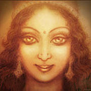Face Of The Goddess/ Durga Face Poster by Ananda Vdovic