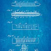 Fairfield Harmonica Patent Art 1897 Blueprint Poster