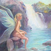 Fairy Of The Falls Morning Bath Poster by Gwen Carroll