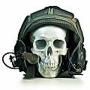 Fake Skull Wearing A Military Pilot Helmet Poster