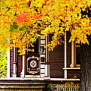 Fall Canopy Over Victorian Porch Poster