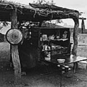 Fall Cattle Round-up Tohono O'odham Reservation Cook's Work Area Hanging Meat For Curing Near Sells  Poster