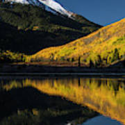 Fall Colors And Red Mountain Reflected Poster