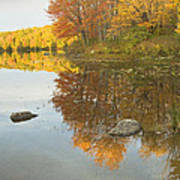Fall Colors On Taylor Pond Mount Vernon Maine Poster by Keith Webber Jr