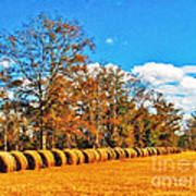 Fall Hayfield Poster