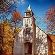 Fall Morning At Palmer Chapel In Cataloochee Poster