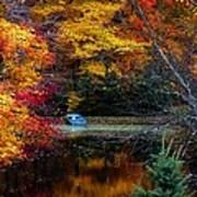 Fall Pond And Boat Poster