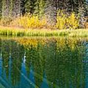 Fall Sky Mirrored On Calm Clear Taiga Wetland Pond Poster