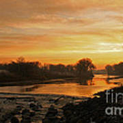 Fall Sunrise On The Red River Poster