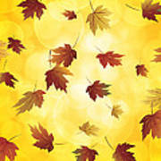 Falling Maple Leaves In Autumn Illustration Poster