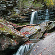 Falling Water Meets Fallen Leaves Poster