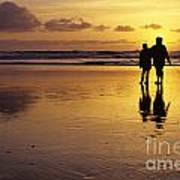 Family On Beach With Dog Sunset Poster