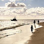 Family On Sunset Beach Poster