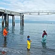 Family Surf Fishing In Kachemak Bay Off Homer Spit-ak Poster