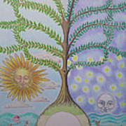 Family Tree Chart Sun Moon And Stars Poster by Alix Mordant