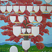 Family Tree Ruby-red Poster by Alix Mordant