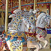 Fanciful Carousel Ponies Poster