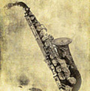 Fancy Antique Saxophone In Pastel Poster