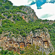 Fancy Tomb Carvings At The Top In Daylan-turkey Poster