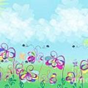 Fantasy Flower Garden - Childrens Digital Art Poster