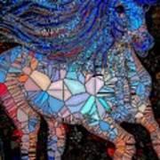Fantasy Horse Mosaic Blue Poster