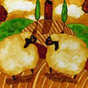 Farm Animals Countryside Sheep Italian Whimsical Folk Debi Hubbs Children Art Poster