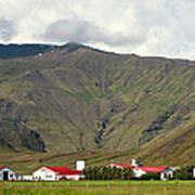 Farm At Eyjafjallajokull Glacier. Poster