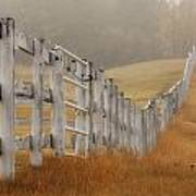 Farm Fence On Foggy Autumn Day Poster
