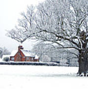 Farm House And Oak Tree Poster