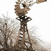 Farm Windmill In Sepia Poster